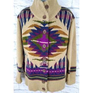 Vintage Eddie Bauer Tribal Aztek Cozy Cardigan L